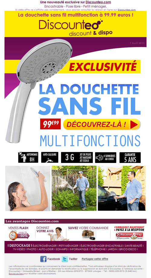 Newsletter douchette sans fil